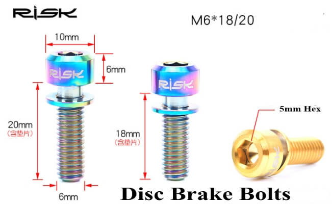 Titanium Bolts M6 x 18/20mm w/washer for DiscBrake